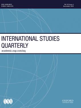 International Studies Quarterly on blue background