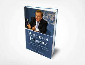 """3D cover of the book """"Patterns of Impunity"""" by Robert R. King"""