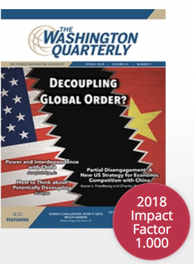 Cover of The Washington Quarterly, Vol 43, Issue 1: a graphics of a breach between U.S. and Chinese flags