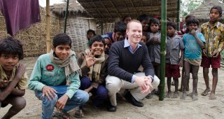 Grant Miller during a research trip to rural Bihar, where he is working on improving health care in India. Credit: Kim Singer Babiarz