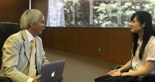 Stanford e-Tottori student Hana Hirosaka of Tottori Higashi High School with SPICE Director Gary Mukai