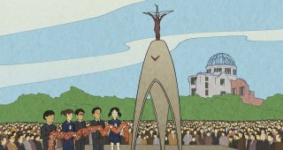 """Illustration of the Children's Peace Monument in Hiroshima, from """"Sadako's Paper Cranes and Lessons of Peace"""""""
