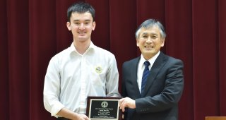 Stanford e-Tottori student James Banville with Principal Shigeo Nikaido of Tottori Keiai High School