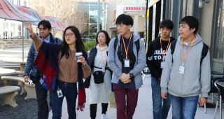 Mana Nakagawa gives students and teachers a tour around Facebook headquarters.