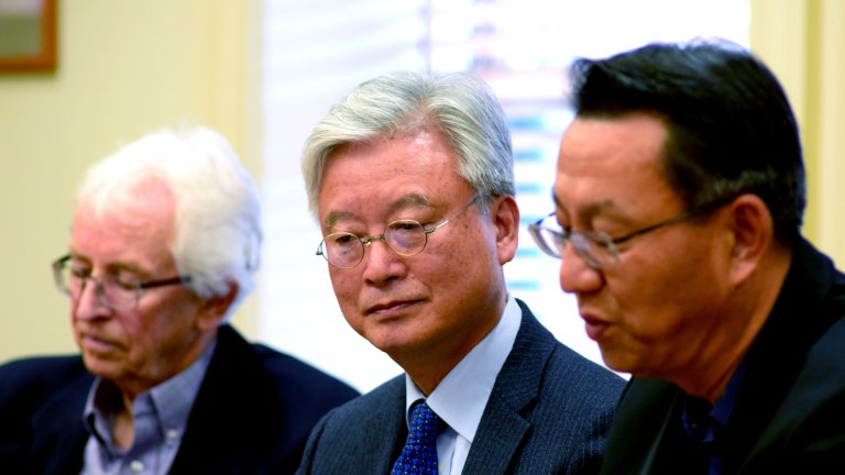 (Right to left): Gi-Wook Shin, ROK Ambassador to the US Cho Yoon-je, and Siegfried S. Hecker seated at a conference room at Stanford
