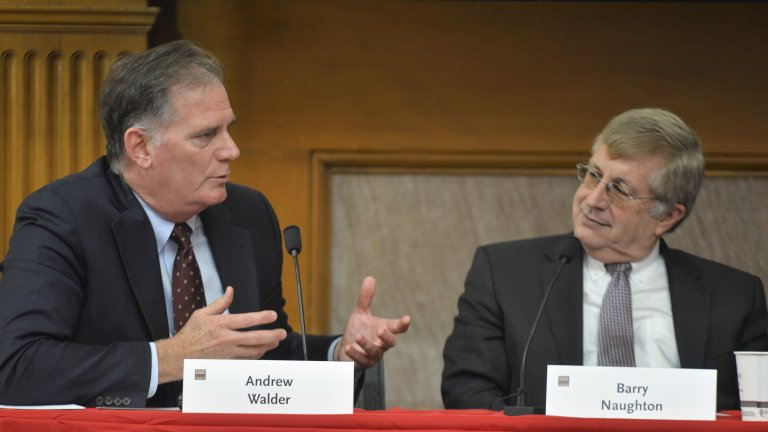 Andrew Walder and Barry Naughton at a panel discussion