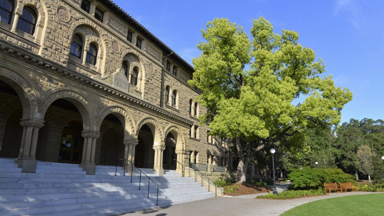 Encina Hall and its front lawn