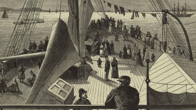 """Image of """"First sight of New York Bay -- arrival of a European steamer"""" by James Wells Champney"""