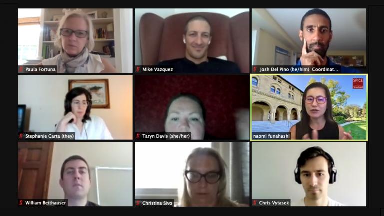 screenshot of seminar participants and an instructor