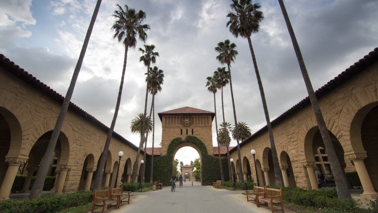 Stanford campus, main quad with cloudy sky