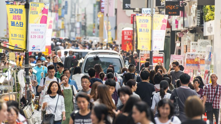 crowd in seoul
