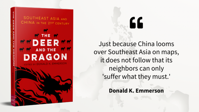 Cover of the book 'The Deer and the Dragon' on the background of a Southeast Asia map