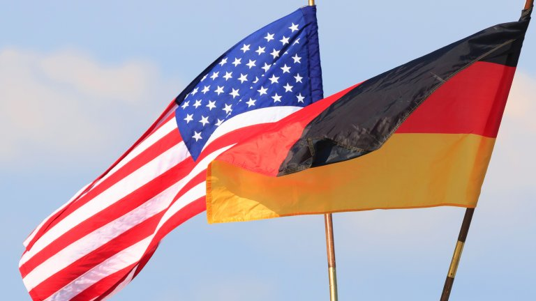Flags of the United States and Germany