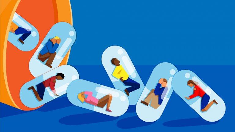 An illustration of opioid addiction.