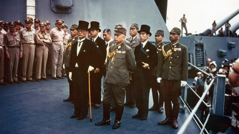 The Japanese delegation onboard the USS Missouri during the surrender ceremony on September 2, 1945.