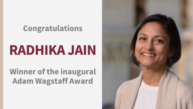 Portrait of Radhika Jain with text congratulating her on winning the inaugural Adam Wagstaff award
