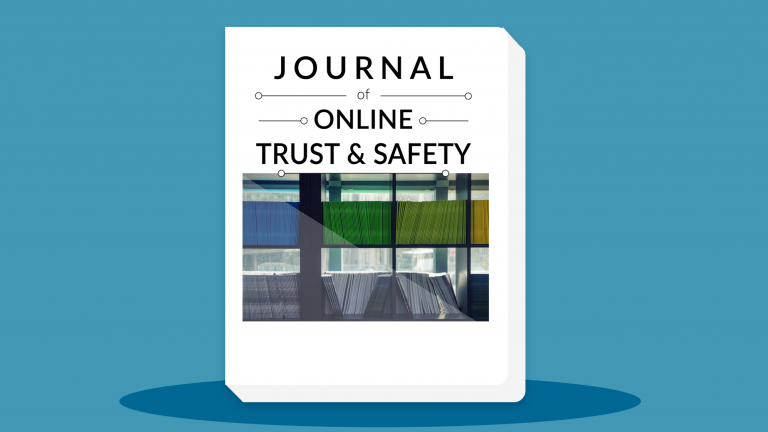 """image of magazines stacked up with the text """"Journal of Internet Trust and Safety"""""""