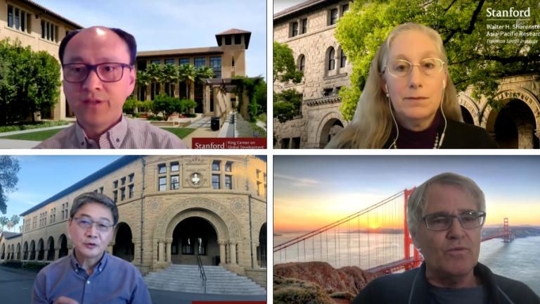 Karen Eggleston, Hongbin Li, Scott Rozelle, and Xueguang Zhou during a virtual panel discussion