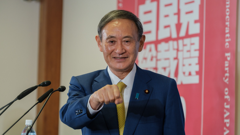 Suga Yoshihide at a press conference at the Liberal Democratic Party (LDP) headquarters.