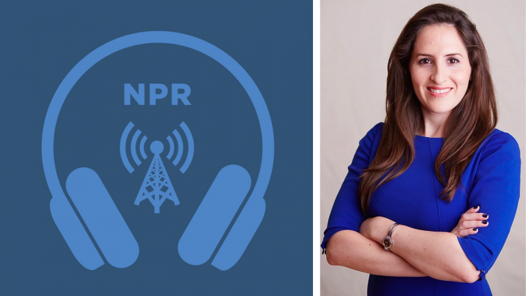 NPR's audio streaming logo next to a portrait of Oriana Skylar Mastro.