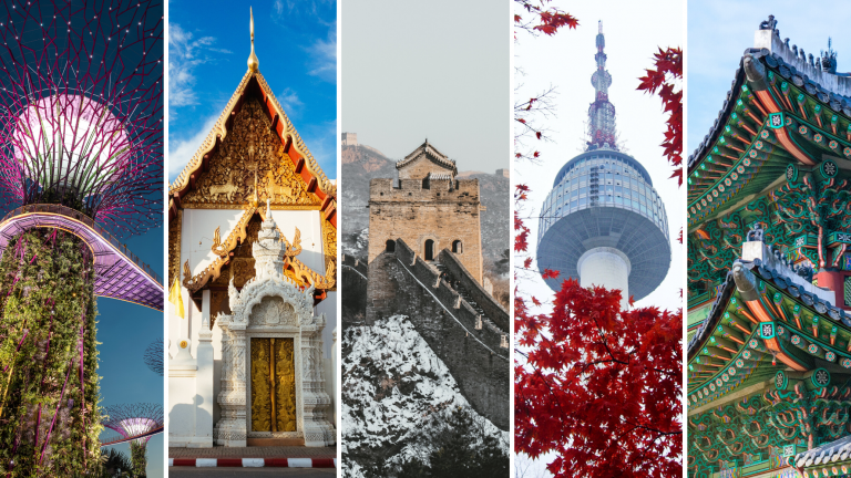 Various buildings and structures from across Asia