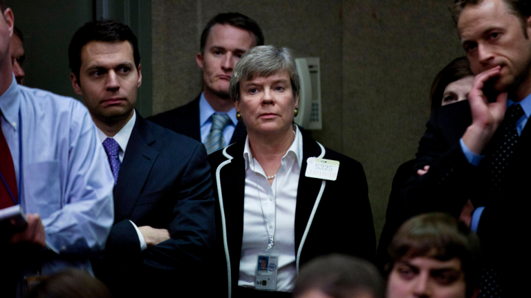 Rose Gottemoeller listens during a press conference on Capitol Hill about the New START Treaty.