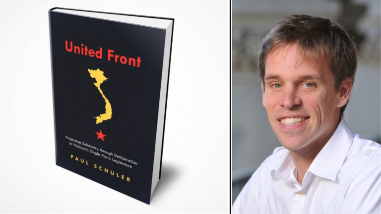 Portrait of Paul Schuler and the cover of his book, 'United Front'