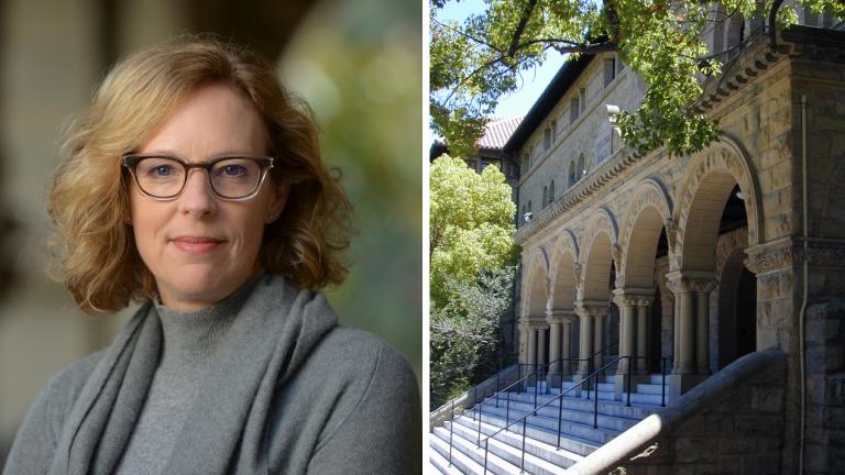 [Left] Kathryn Stoner; [Right] Encina Hall, Stanford University
