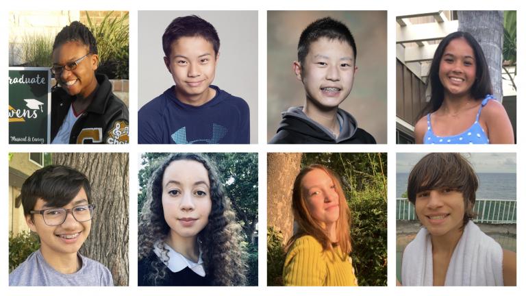 headshots of eight high school students