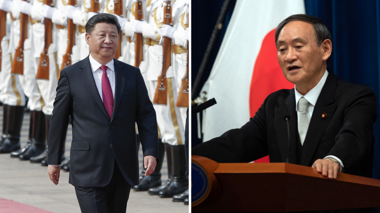 Photos of China's Xi Jinping walking and Japan's Yoshihide Suga speaking at a podium