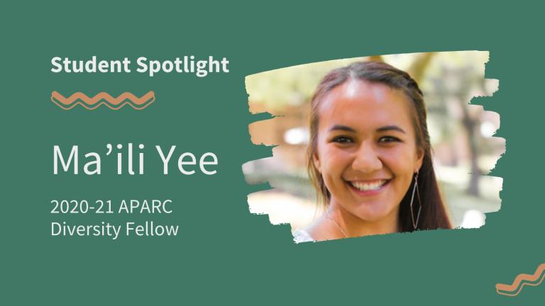 Portrait of Ma'ili Yee, 2020-21 APARC Diversity Fellow