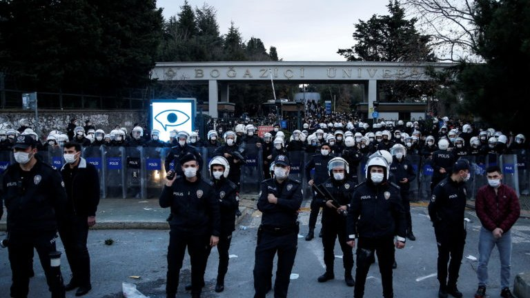 Turkish riot police block the main gate of Boğaziçi University during protests against President Erdogan's appointment of a new rector. Istanbul, January 4, 2021.
