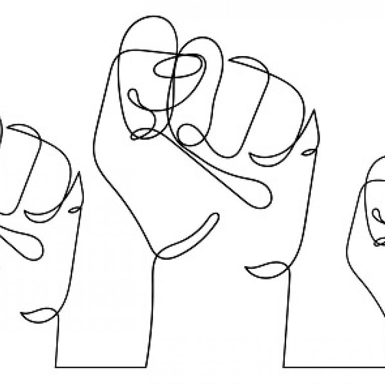 hand drawn fists