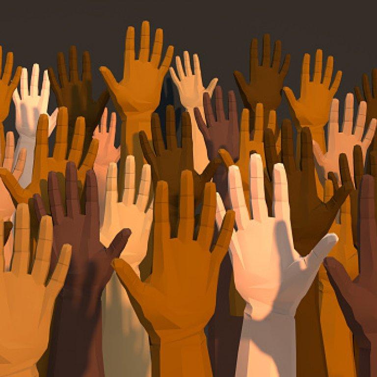 image of hands raising