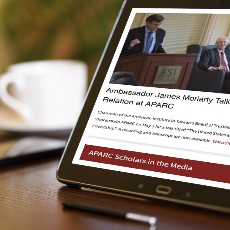 APARC e-newsletter displayed on a tablet screen.
