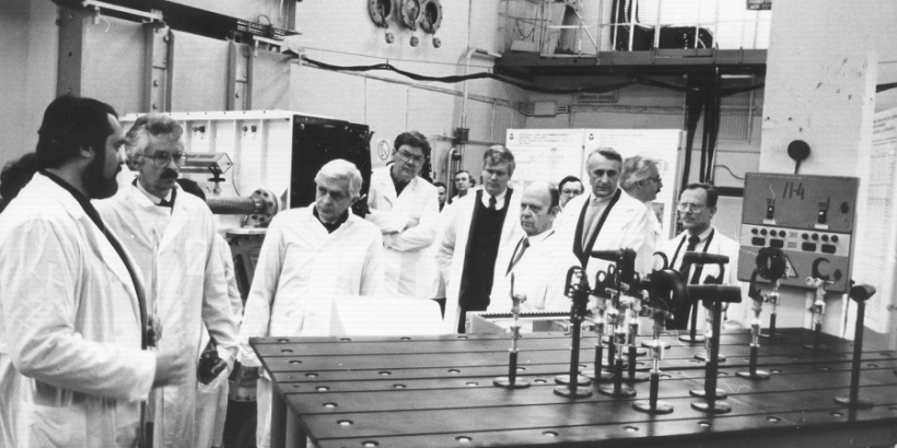 Siegfried Hecker (second from left) takes a tour of a secret Russian nuclear facility in the city of Sarov in February, 1992. Hecker was serving as director of the Los Alamos National Laboratory during his visit.