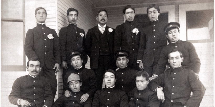 Waseda University Baseball Team at Stanford University, 1905; courtesy, Waseda University.