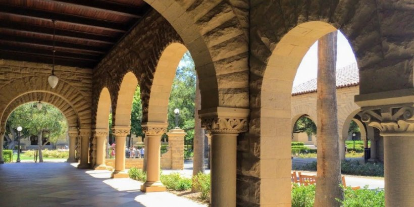 Archways and pillars in Stanford University's Main Quad
