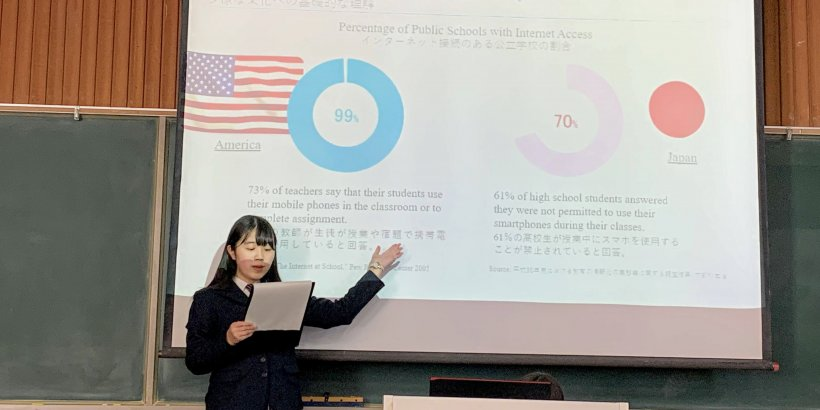 Stanford e-Japan student Ayano Hirose giving her final presentation