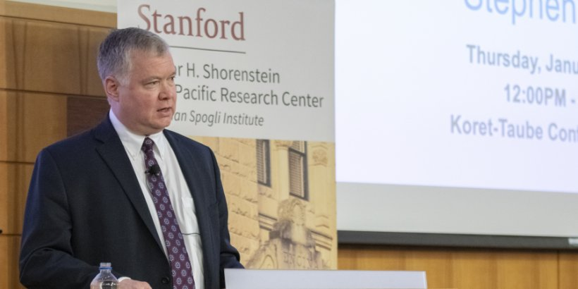 Stephen Biegun delivers remarks at Stanford at a Shorenstein APARC event.