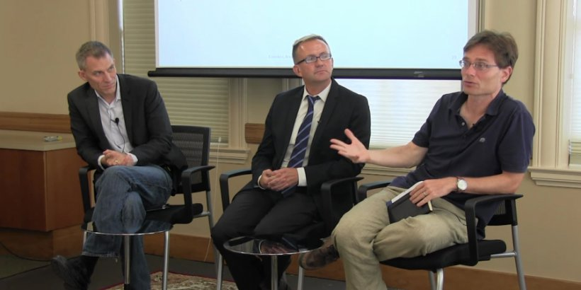 Ken Scheve, Christophe Crombez and Nick Bloom at the Oct. 10, 2016 Discussion Panel on Brexit.