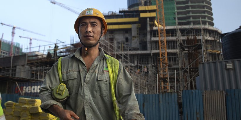 Chinese construction workers in Colombo, Sri Lanka