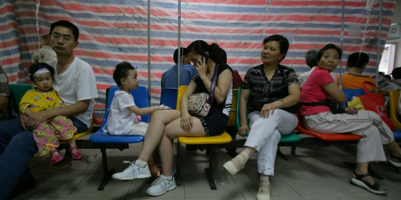 Young patients receive treatment at Chongqing Children's Hospital in Chongqing Municipality, China.