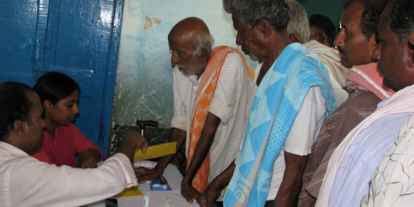 People receiving diabetes care in a rural clinic in India