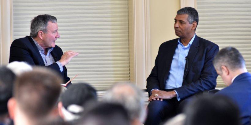 U.S.-Asia Security Initiative Director Karl Eikenberry, left, questions General Vincent Brooks during 2019 Koret Workshop