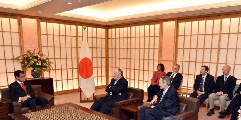 Japan Foreign Minister Taro Kono, Ambassador Michael Armacost, Ambassador Karl Eikenberry, and Ambassador David Shear