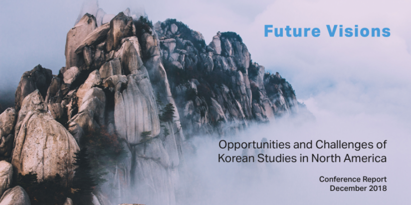 """Future Visions"" report cover shows South Korea's Seoraksan mountain high in the clouds."