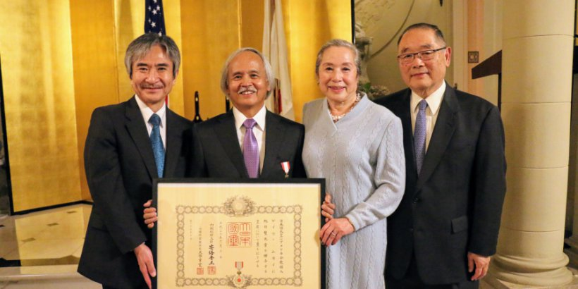 Gary Mukai receives the Order of the Rising Sun, Gold and Silver Rays. February 8, 2018.