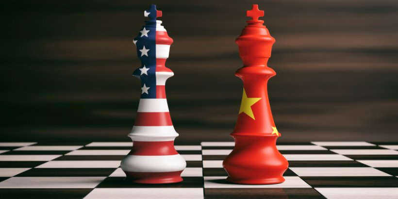 US-China relations concept: US and China flags on chess kings on a chess board, brown wooden background. 3d illustration.