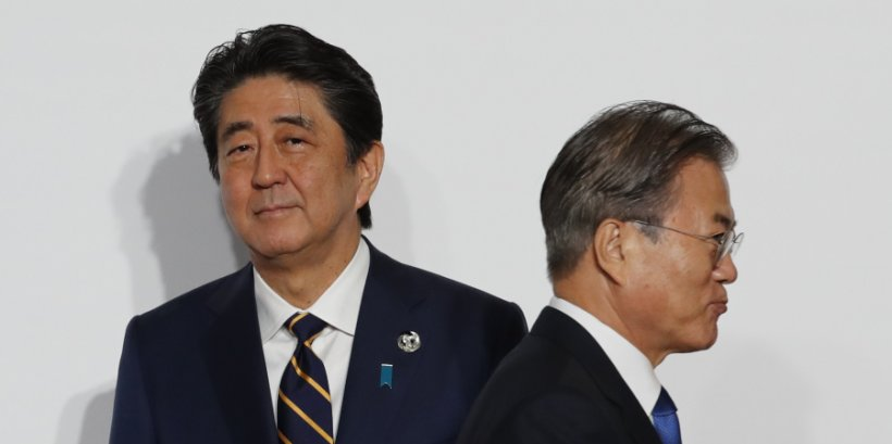Japan Prime Minister Shinzo Abe and South Korea President Moon Jae-In